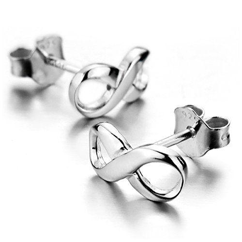 MunkiMix 925 Sterling Silber 925 Spikes Ohrringe Unendlichkeit Symbol 8 Einzigartig Poliert Damen