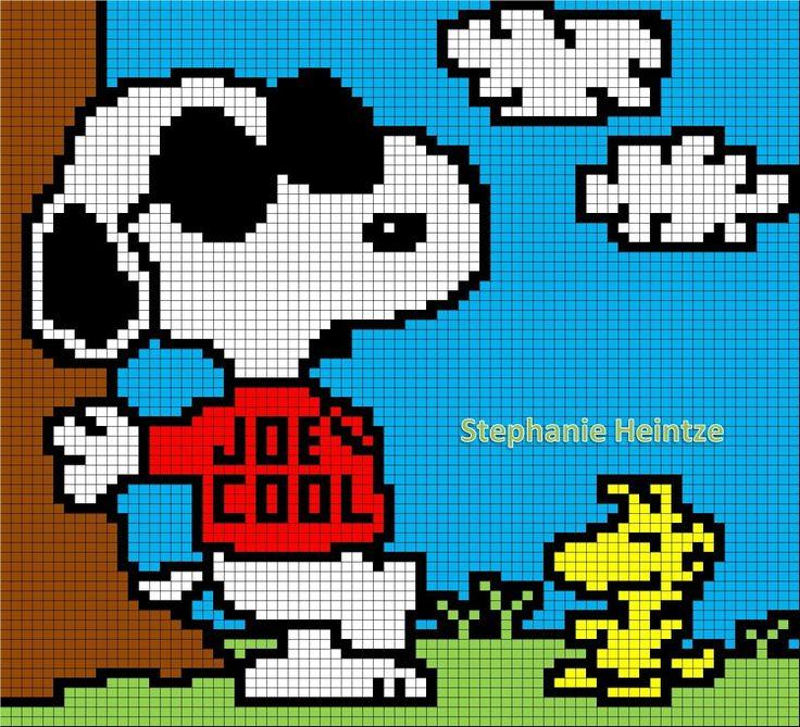 Joe Cool Snoopy Woodstock Peanuts C2c Crochet Graph