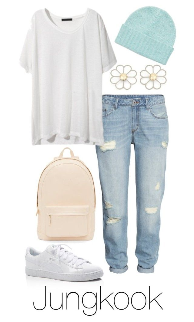 """""""Jungkook Inspired: Pastel"""" by btsoutfits ❤ liked on Polyvore featuring Puma, PB 0110, Cheap Monday, H&M and Orla Kiely"""