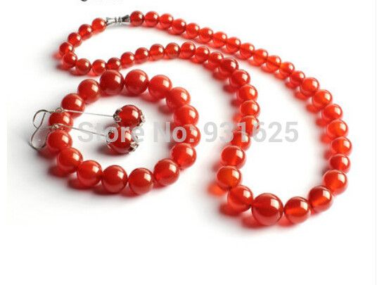 Beautiful Red Natural Agate Round Beads Link Necklace Bracelet Earring Set fashion Jewelry Sets