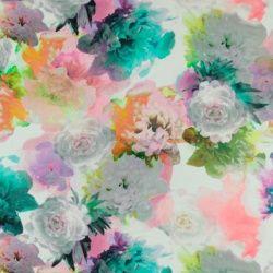 Gewebte Viskose, mehrfarbige Blumen