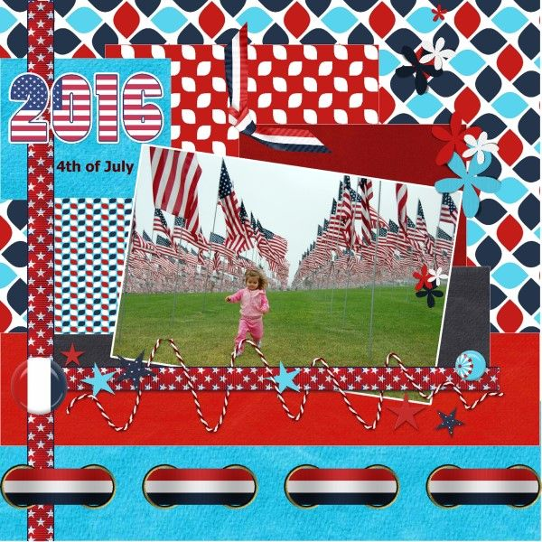 [July 2016 Impromptu Challenge by Dawn Thanks for the fun Dawn and here is my July 2016- 4 th of July page The sketch is free from Scrapbook.com.by Kim Keane I tried to work as much I could by the excample I took a pict. from Pixabay , free to use and I made it with all the HSA Red White Blue kit and freebie . thanks Eileen the numbers/year 2016 is also free from Pixabay
