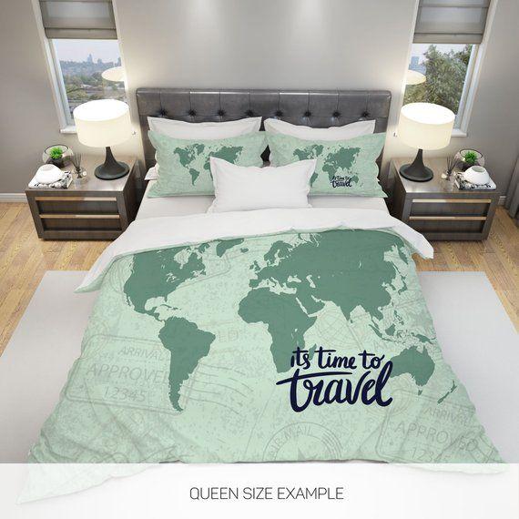 World Map Bedding World Map Duvet Cover Travel Map Bedding Etsy In 2021 Best Duvet Covers Duvet Bedding Sets Bed