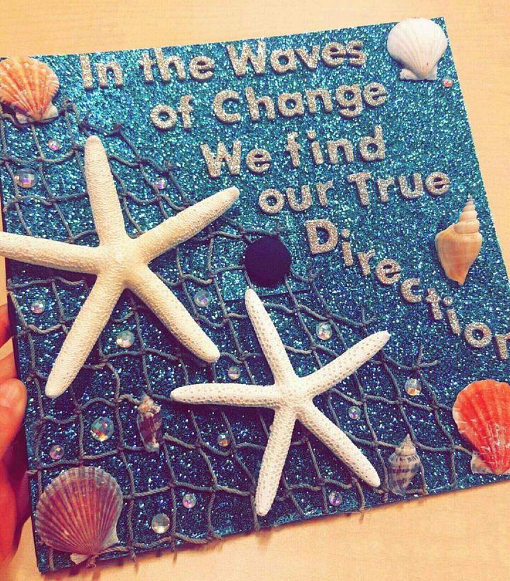 Beach-themed Graduation Cap inspired by Pinterest!