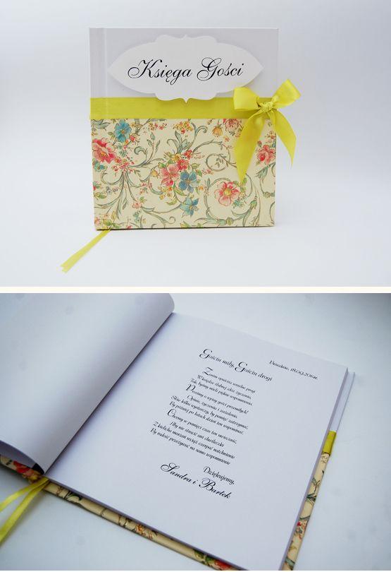 Kolorowa Księga Gości dla Sandry i Bartłomieja.  Księga wykonana do kompletu zaproszeń.