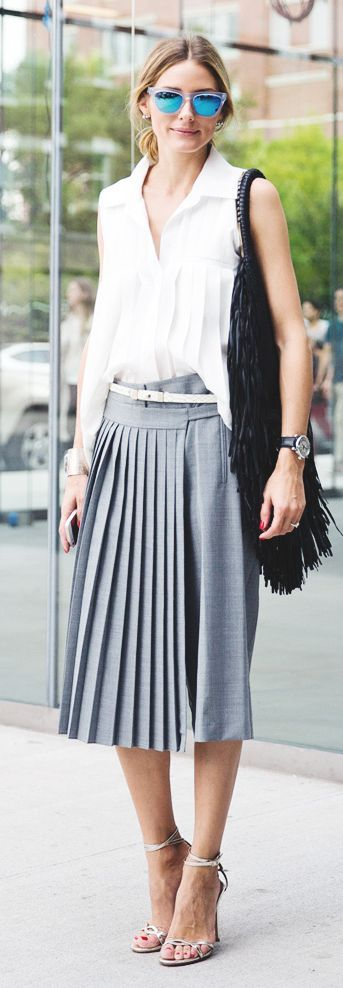 Grey Front Pleated Midi Skirt by Collage Vintage