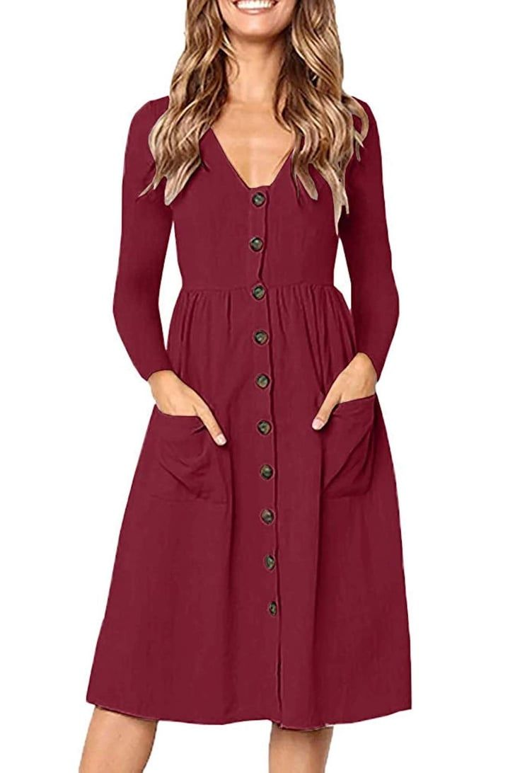 We Found Your Perfect Fall Dress With Pockets It S From Amazon And Only 19 Women Long Sleeve Dress Midi Short Sleeve Dress Amazon Dresses [ 1092 x 728 Pixel ]
