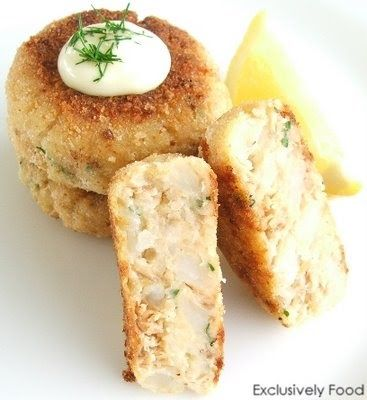 This recipe makes about six salmon patties. We served them topped with mayonnaise and chopped dill. You will need about 2 medium potatoes f...