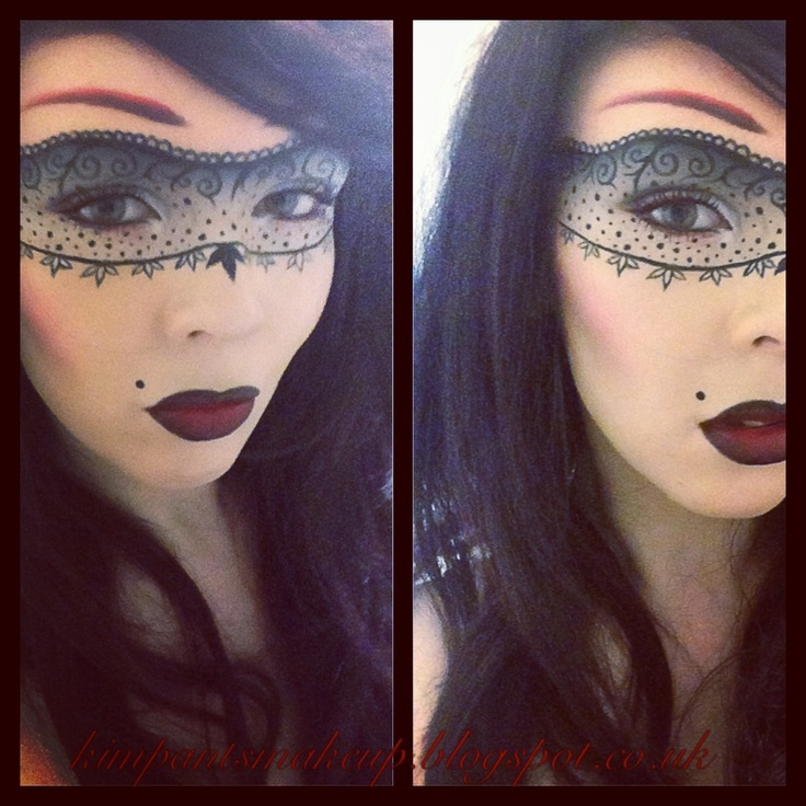 Lace mask masquerade makeup