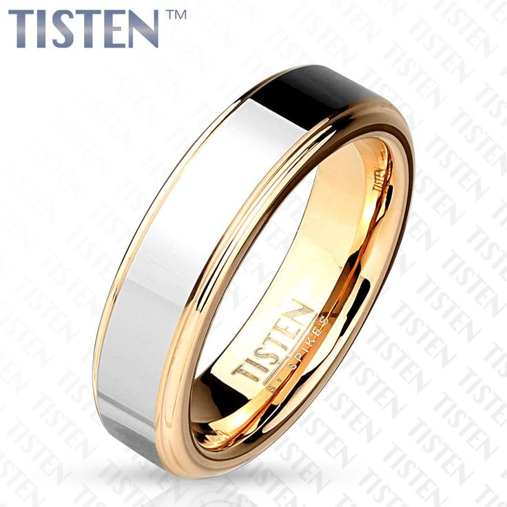 6mm Two Tone Inner Rose Gold IP with Step Edges Tisten (Tungsten+Titanium) Ring
