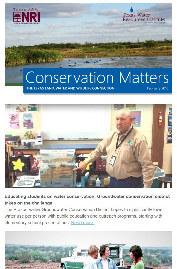Brazos Valley students learn water conservation, Kirby the quail spreads wildlife conservation message and more in this issue of Conservation Matters #twri #nri #quail #groundwater #conservation #conservationmatters #water #aquifer #tamu #ogallala #riogrande #rainwaterharvesting #carancahua #texaswaterjournal #irrigation #agriculture #training #feralhogs #soil #research #wildlife