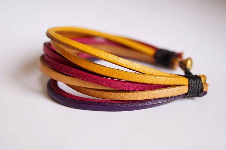 Multi Strand Genuine Leather Bracelet, Multi Strand Bangle Bracelet, Multi Colour Stacked Cuff, by AnatolianBliss on Etsy