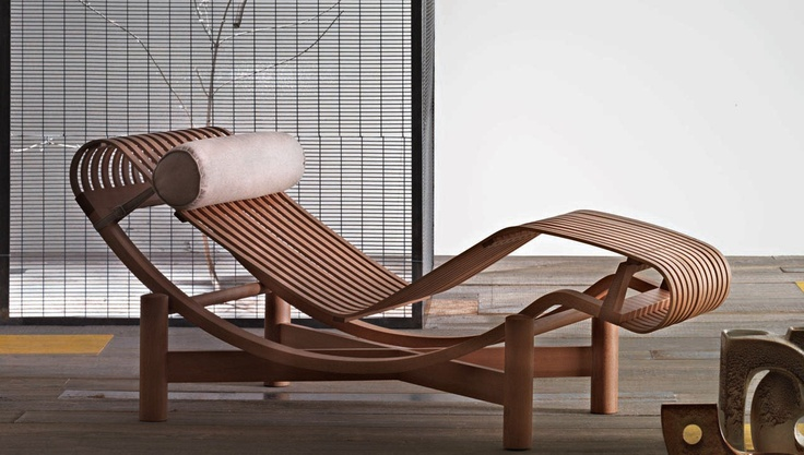 The Tokyo Chaise by Charlotte Perriand (play on Le Corbusier's LC4 Chaise)Chai Lounges, Lounges Chairs, Rocks Chairs, Chaise Lounges,  Rocker, Lounger, Charlotte Perriand, Bottle Longue, Furniture Design