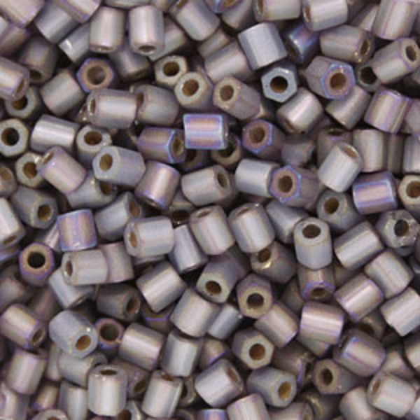 Size 8 Silver Lined Matte Transparent Gray/Purple Hex Japanese Seed Bead   Fusion Beads
