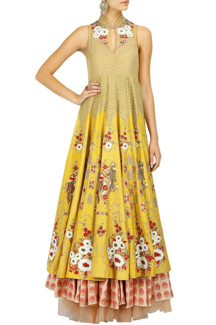 Yellow floral embroidered anarkali with peach skirt BY ANJU MODI. (use same colours for BP on yellow silk/georgette/chiffon)
