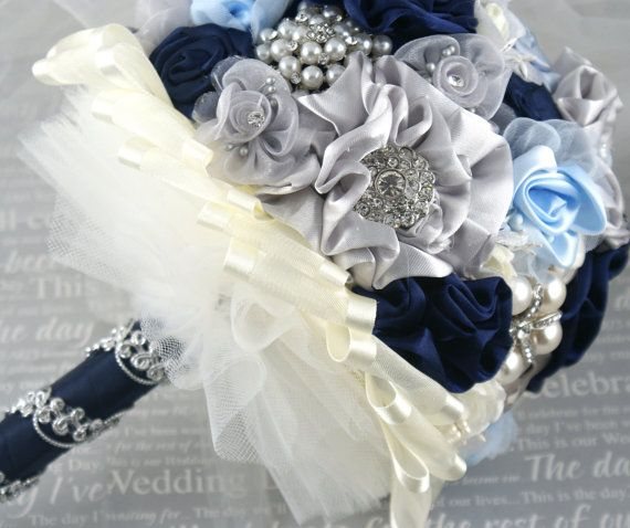 Navy Blue And Silver Wedding Bouquets - Unique Wedding Ideas