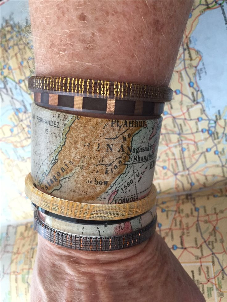 Where is your map taking you? Map cuff and skinny, Patent Skinny, Black Copper Skinny, Blonde Mohair Skinny, Copper Leaf Skinny, Bali Skinny