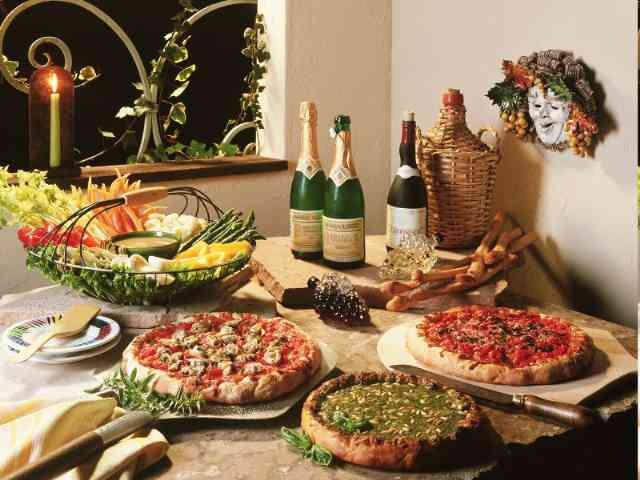Pizza and Wine - what more to ask? Hmmm could get a couple of gourmet mellow mushroom pizzas for the hungrier guests.