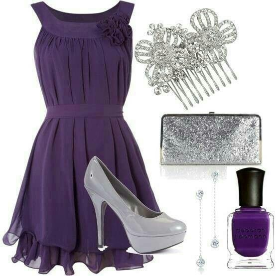Purple dress and accessories.