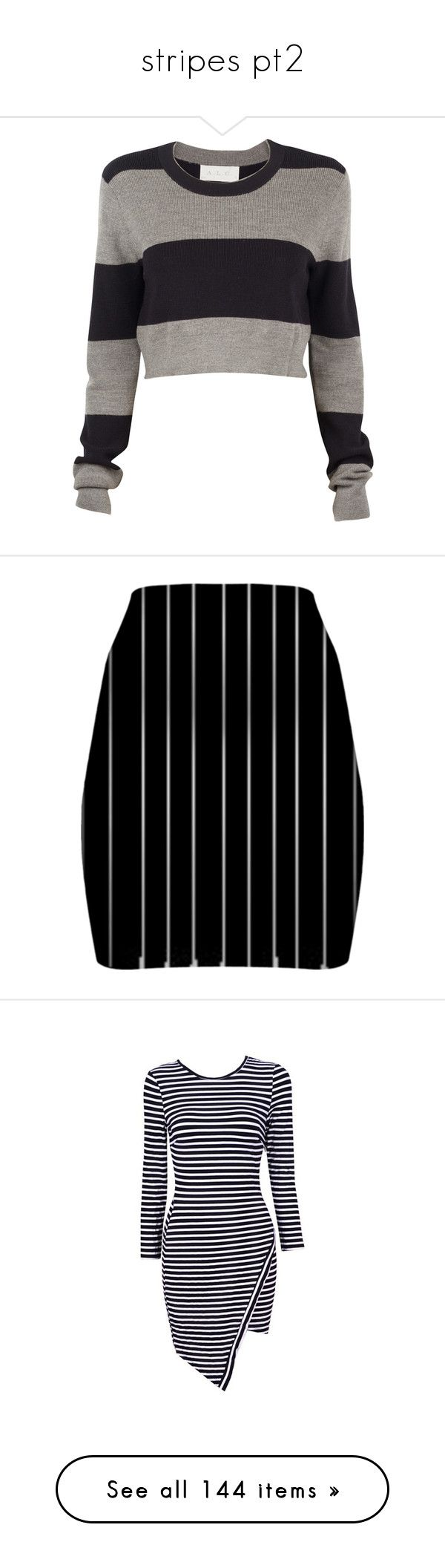 """""""stripes pt2"""" by rowan-asha ❤ liked on Polyvore featuring tops, sweaters, shirts, crop tops, gray long sleeve shirt, long sleeve sweater, long-sleeve crop tops, striped long sleeve shirt, striped sweater and skirts"""