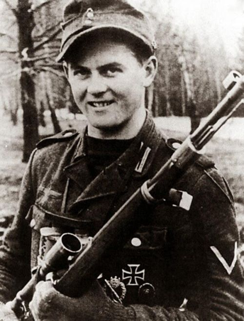 I don't know if I made a post about him before but anyways because he is my favorite besides Horst Wessel. Anyways ways. Matthäus Hetzenauer Was born December 23,1924 in Tyrol Austria and died October 3,2004. After spending most his time in basic training he started sniper training march-july of 1944 atTruppenübungsplatz Seetaler-Alpe before being assigned to the 3rd mountain division on the eastern front during world war 2. He was credited 345 kills and the longest confirmed kill be...