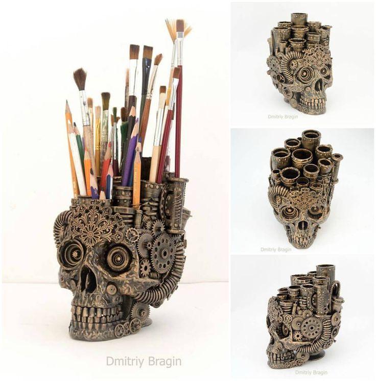 steampunktendencies:  Skull Organiser byDmitriy Bragin  #steampunktendencies  #steampunk  #skull  #organiser  #crafts  #design  #steampunkdesign  #amazing  #awesome