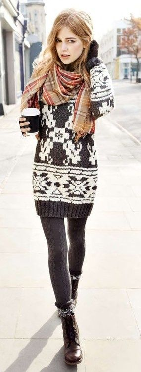 I like wearing sweater dresses with tights and I really like this pattern