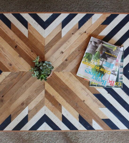 planked wood coffee table top