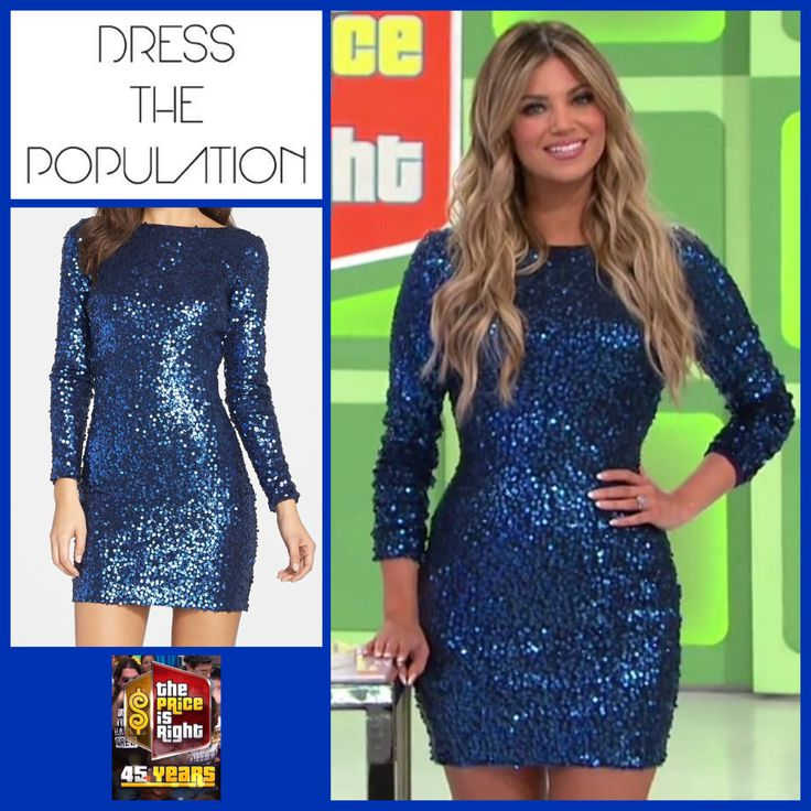 DRESS THE POPULATION 'Lola' Sequin Body-Con Minidress in Navy Blue worn by Amber Lancaster