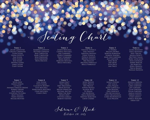 Printable Gold and Blue Bokeh Seating Chart - Night Lights