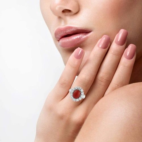 FLOWER SHAPED RED ONYX 925 SILVER RING