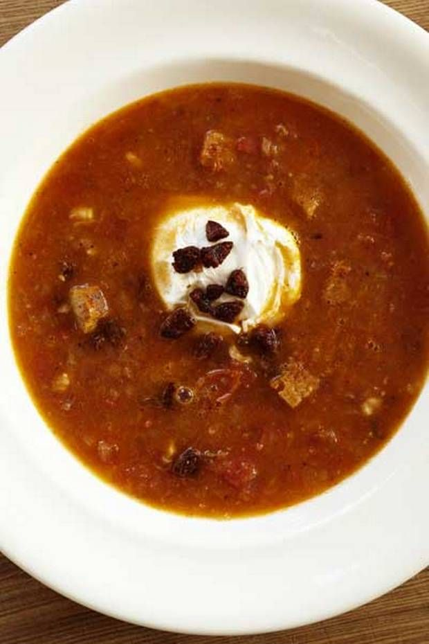 Portuguese tomato and chorizo soup with a poached egg - Recipes - Food ...