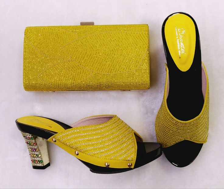 66.22$  Buy here - http://aliocd.worldwells.pw/go.php?t=32788820300 - Ladies shoe and bag to match set good material italian shoe with matching bag for wedding italy shoe and bag set!TH02-01 Yellow