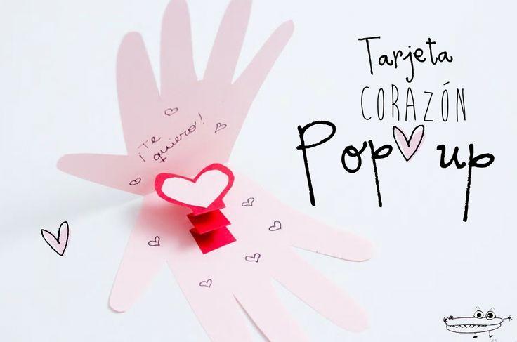 Tarjeta de mano pop up  Una #Tarjeta con mucho amor hecha por los peques