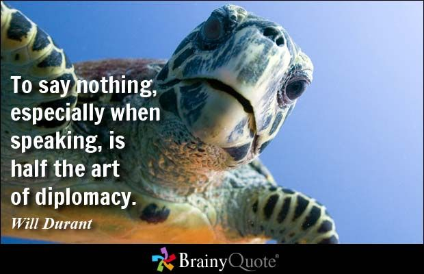 To say nothing, especially when speaking, is half the art of diplomacy. - Will Durant