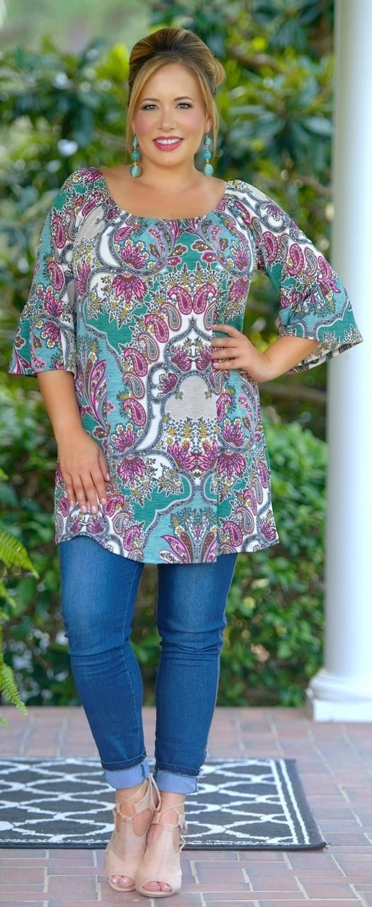 Teal Death Do Us Part Tunic - Multi - Perfectly Priscilla Boutique