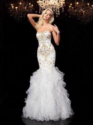 350198f3fa00 Organza Sweetheart Floor-Length White Prom Dresses in 2019 | wedding ...