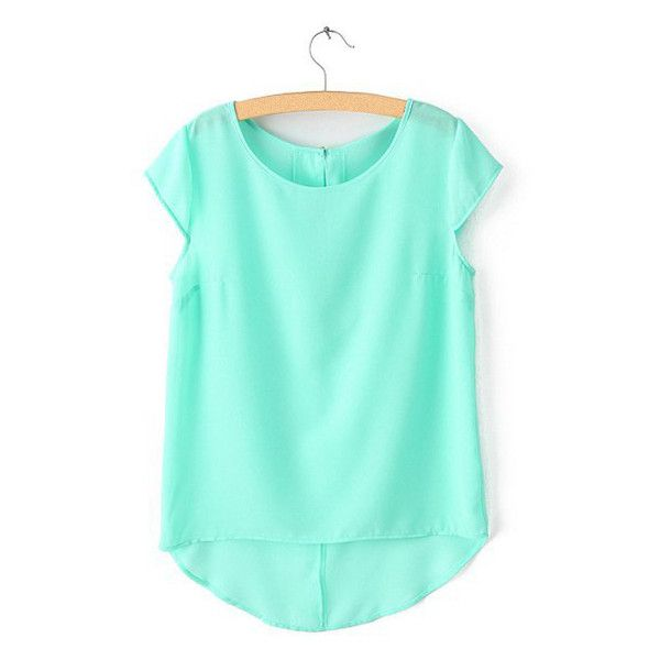 Simple Style Scoop Collar Solid Color Chiffon All Match Short Sleeve... ($11) ❤ liked on Polyvore featuring tops, t-shirts, mint green, blue tee, short sleeve tee, short sleeve t shirts, blue t shirt and scoop t shirt