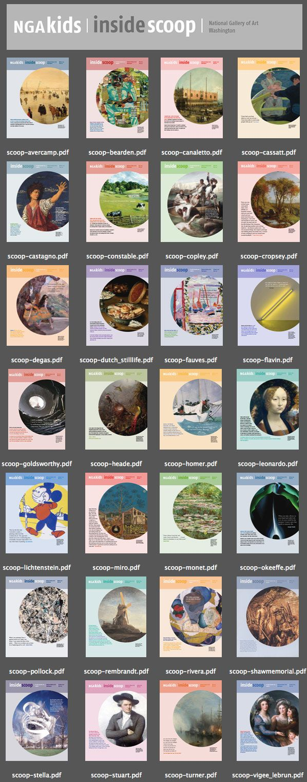 The Inside Scoop Archive - downloadable pdf files of artist profiles for kids by the National Gallery of Art in Washington