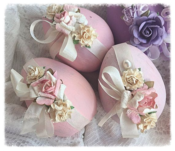 Cottage Chic 3 Paper Mâché Easter Pink 4 EGGS by RoseChicFriends
