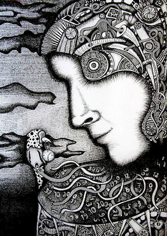 """""""Wehikuł czasu"""" rysunek, 50x70cm, cienkopis kreślarski, sygnowany pseudonimem Touanda"""