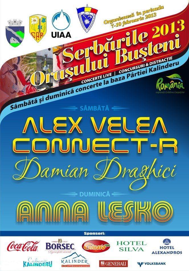 """Concerte Alex Velea, Damian Drăghici, Connect-R şi Ana Lesko, Cupa Mondială de Escaladă pe Gheaţă, competiţii de schi şi fotbal, aducerea torţei olimpice sunt doar câteva evenimentele la care puteţi lua parte, în perioada 7-10 februarie la Buşteni, unde se desfăşoară """"Zilele Oraşului"""""""