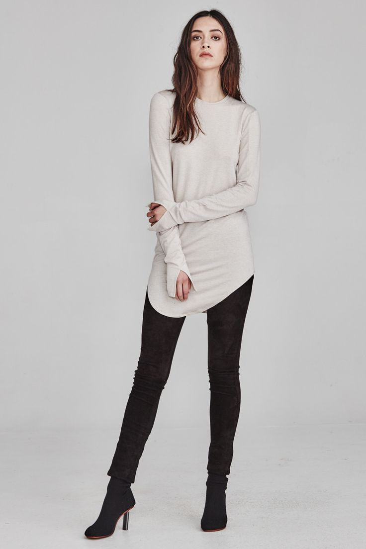 Ricochet NZ Fashion Clothing AW17 Limestone Knit Layering Ruth Top Extra Long Sleeves