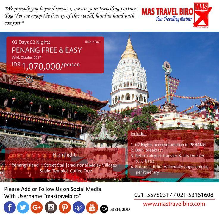 Selamat Pagi Traveler🌞 Mastravelbiro ada promo tour ke Penang Free & Easy 3 Hari 2 Malam. Harga dimulai dari Rp 1.070.000😊  Buruan booking!👇 Phone : 021 55780317 WA : 081298856950 Email : tourhotel.metos@mastravelbiro.com    #mastravelbiro #Promotour #penang #promotravel #travelagent #tourtravel