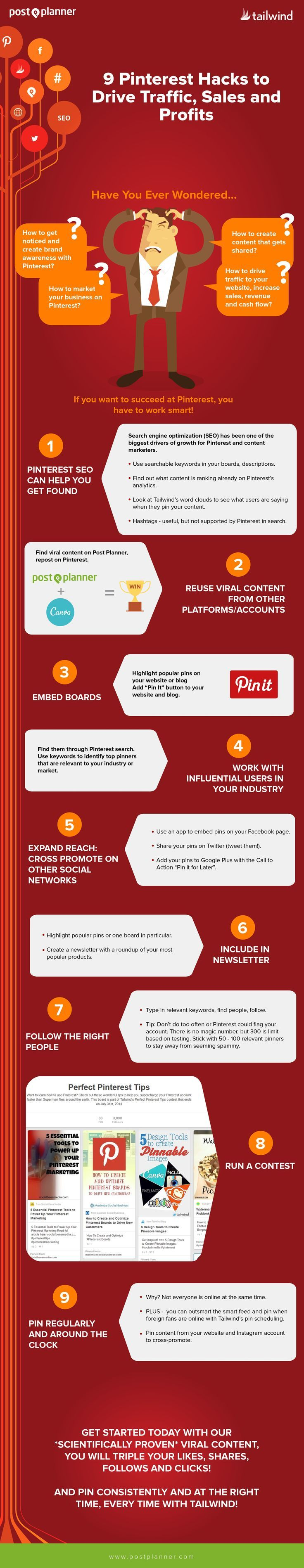 Pinterest Hacks to drive traffic, sales, profits (infographic)