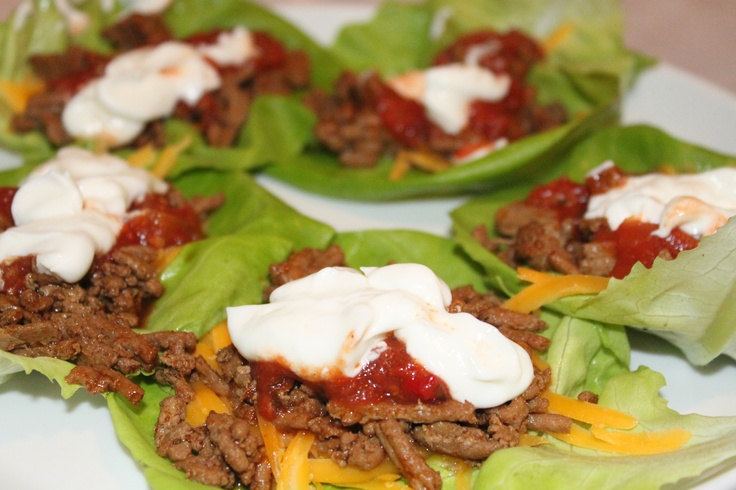 No carb healthy tacos! Ground turkey, low fat sour cream, low fat cheese and salsa wrapped in a boston lettuce leaf! We love making these!