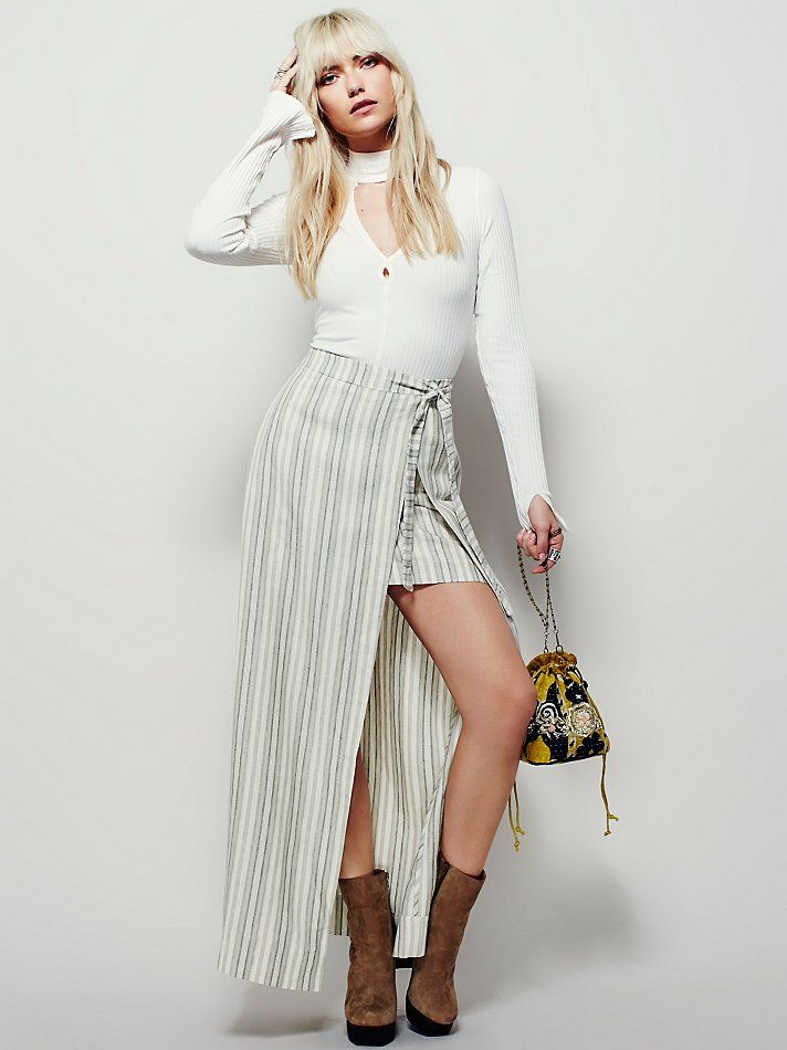 Getaway Linen Maxi Skirt | Made in Philadelphia, Pa., this striped linen maxi skirt has a dramatic front slit and features a mini under skirt.  Adjustable waist tie and hidden side zip closure.