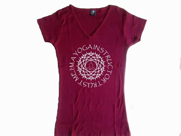 Trust me I am a Yoga instructor bordeaux women v neck t-shirt S-2XL by mycooltshirt on Etsy