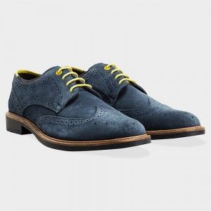 Goodwin Smith Ewood Navy Suede Lace-Up Brogues #brogues #menshoes #mensfootwear #mensblog