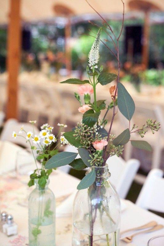 LOVE! Simple wildflowers in clear #rustic bottles @gildedlilyevent